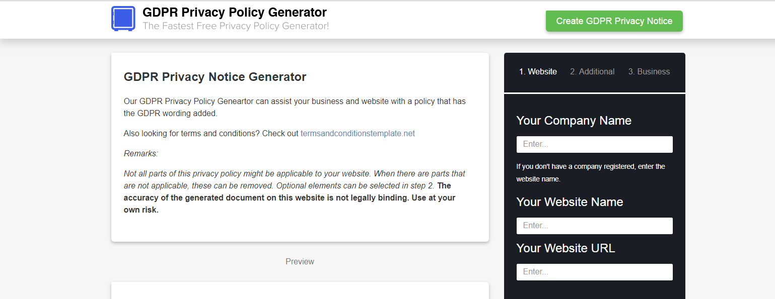 privacy policy generator 2018