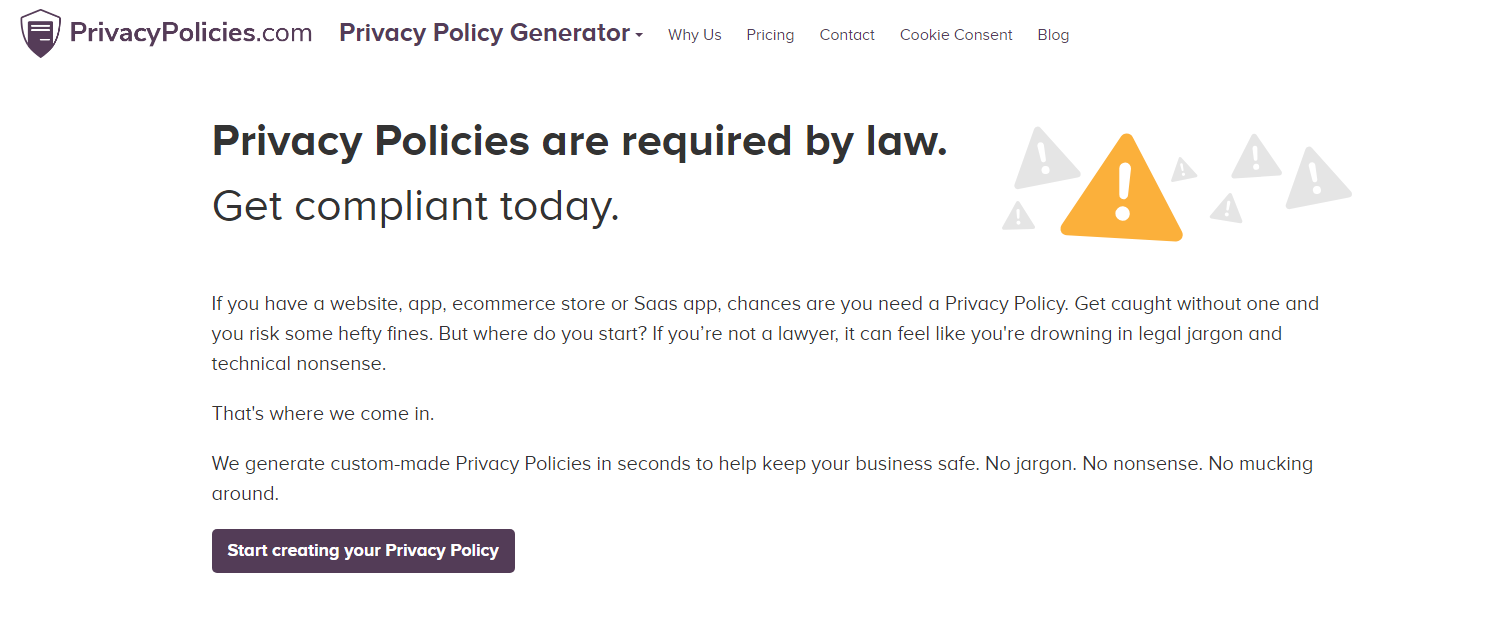 online privacy policy generator 2018